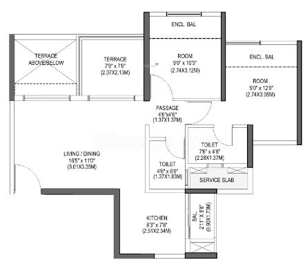 Pride Purple Park Connect (2BHK+2T (526.36 sq ft) Apartment 526.36 sq ft)