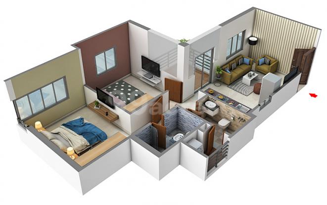 Pride Purple Park Connect (2BHK+2T (496.32 sq ft) Apartment 496.32 sq ft)