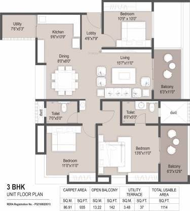 Mantra Grandstand Trinity (3BHK+3T (934.95 sq ft) Apartment 934.95 sq ft)
