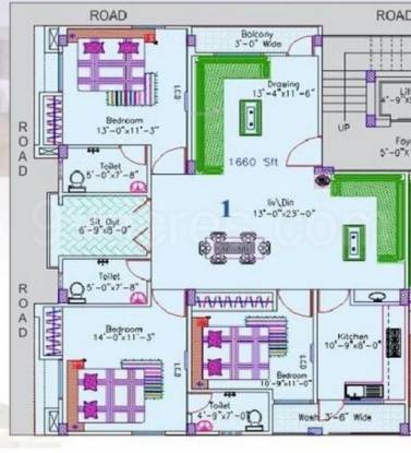 Grow Space Infrastructure BA Arcade (3BHK+3T (1,660 sq ft) Apartment 1660 sq ft)