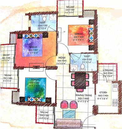Coco County (3BHK+2T (1,152 sq ft) Apartment 1152 sq ft)