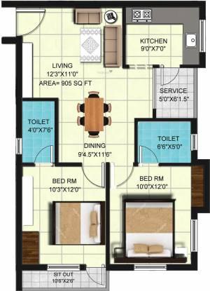 Global Nivas (2BHK+2T (905 sq ft) Apartment 905 sq ft)