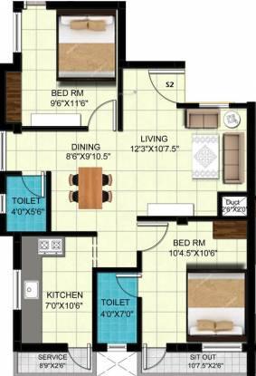 Global Nivas (2BHK+2T (930 sq ft) Apartment 930 sq ft)