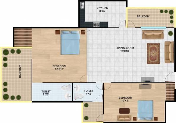 Revanta Delhi Estate Housing Scheme (2BHK+2T (715 sq ft) Apartment 715 sq ft)