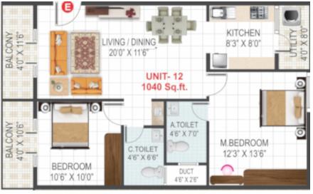 Sri Ranjani Sai Samraksha (2BHK+2T (1,040 sq ft) Apartment 1040 sq ft)