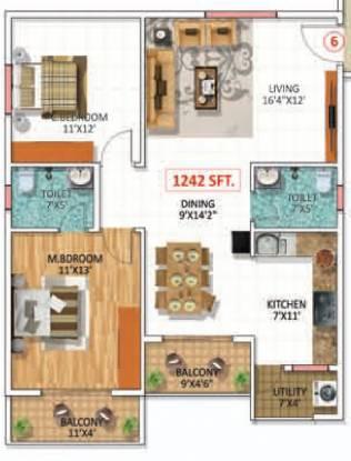 SWATHI BUILDERS AND PROPERTIES SWATHI MAGNOLIA (2BHK+2T (1,154 sq ft) Apartment 1154 sq ft)
