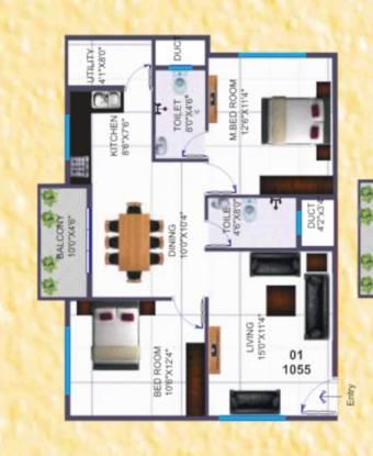 Silicon SILICON INDRAPRASTHA (2BHK+2T (1,054.97 sq ft) Apartment 1054.97 sq ft)