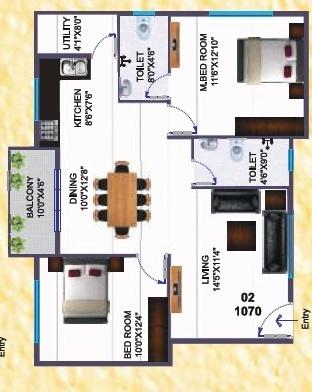 Silicon SILICON INDRAPRASTHA (2BHK+2T (1,070.04 sq ft) Apartment 1070.04 sq ft)