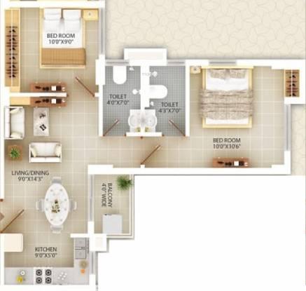 Deewakar Shristi (2BHK+2T (734 sq ft) Apartment 734 sq ft)