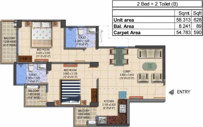 MRG The Balcony (2BHK+2T (590 sq ft) Apartment 590 sq ft)
