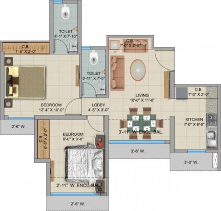 Man Opus (1BHK+1T (545 sq ft) + Study Room Apartment 545 sq ft)