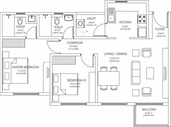 Godrej 24 (2BHK+2T (749 sq ft) Apartment 749 sq ft)