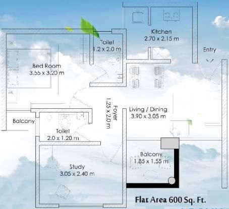 Elite The Elite Spire (1BHK+1T (600 sq ft) + Study Room Apartment 600 sq ft)