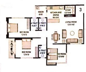 Samarpan Heights (3BHK+3T (1,631 sq ft) Apartment 1631 sq ft)