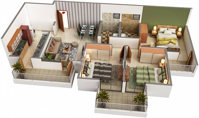 Ambika LA Parisian Phase II T1 To T5  (3BHK+3T (1,400 sq ft) Apartment 1400 sq ft)