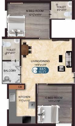 The Nest Nest Charm (2BHK+2T (885 sq ft) Apartment 885 sq ft)