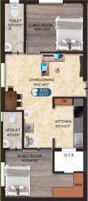 The Nest Nest Heritage (2BHK+2T (935 sq ft) Apartment 935 sq ft)