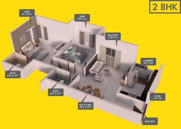 Provident Equinox 2 (2BHK+2T (883 sq ft) Apartment 883 sq ft)