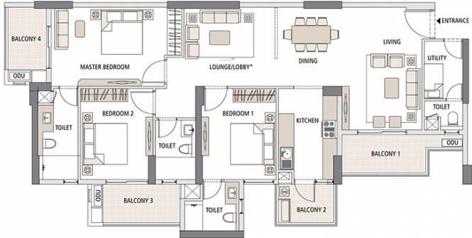 Apurupa E (3BHK+3T (1,266.16 sq ft) Apartment 1266.16 sq ft)