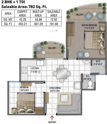 Rishabh Hindon Green Valley (2BHK+1T (782 sq ft) Apartment 782 sq ft)