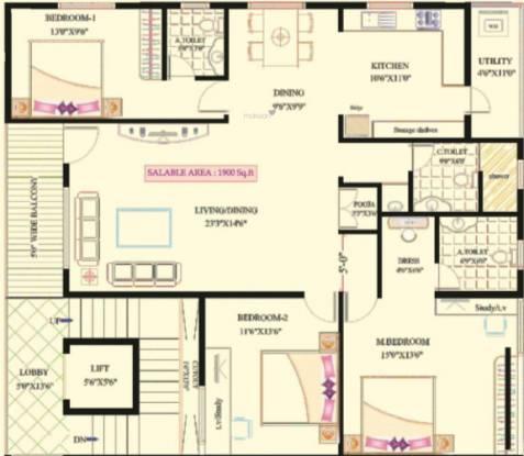 Lak Ven Bless (3BHK+3T (1,900 sq ft) Apartment 1900 sq ft)