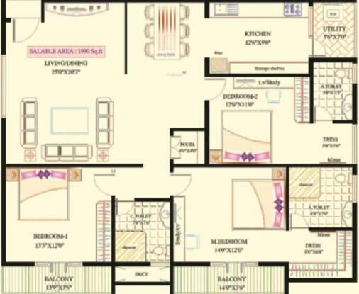 Lak Ven Bless (3BHK+3T (1,990 sq ft) Apartment 1990 sq ft)