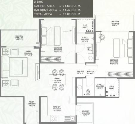 Godrej Palm Retreat (2BHK+2T (770.91 sq ft) Apartment 770.91 sq ft)