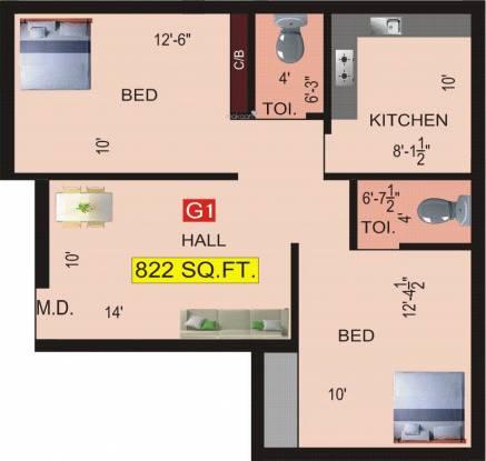 VGK Aditi (2BHK+2T (822 sq ft) Apartment 822 sq ft)