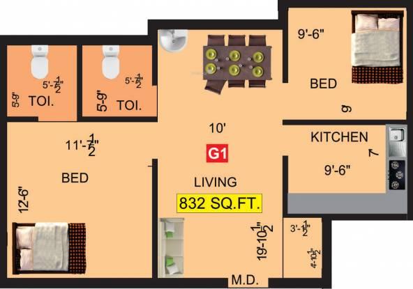 VGK Adhvay (2BHK+2T (832 sq ft) Apartment 832 sq ft)