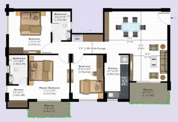 Ashiana Tarang Phase II (3BHK+2T (935 sq ft) Apartment 935 sq ft)