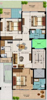 Fidato Honor Homes (3BHK+2T (1,326 sq ft) Apartment 1326 sq ft)
