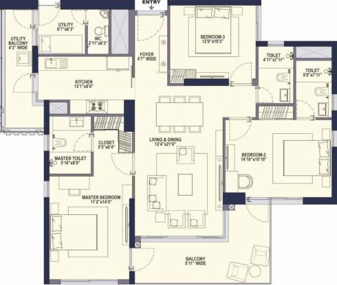 Conscient Hines Elevate (3BHK+4T (2,095 sq ft) Apartment 2095 sq ft)