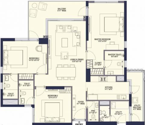 Conscient Hines Elevate (3BHK+4T (2,295 sq ft) Apartment 2295 sq ft)