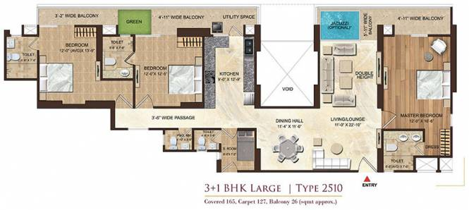 Dasnac Burj Noida (3BHK+3T (2,510 sq ft) Apartment 2510 sq ft)