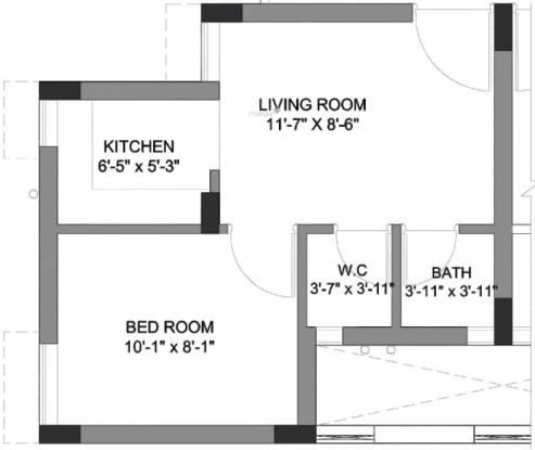 Ashiana Ashiana Greens Ews Block (1BHK+1T (247.48 sq ft) Apartment 247.48 sq ft)