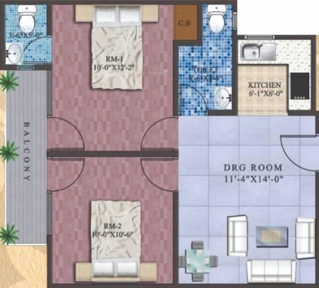 India Bricks Ganga Tower (2BHK+2T (981 sq ft) Apartment 981 sq ft)