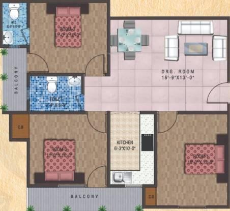 India Bricks Ganga Tower (3BHK+2T (1,251 sq ft) Apartment 1251 sq ft)
