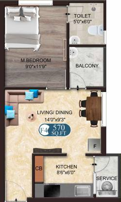 The Nest Adore (1BHK+1T (570 sq ft) Apartment 570 sq ft)