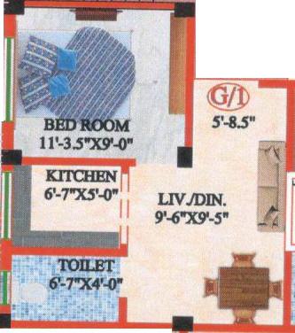 M A H Jai Ganesh Apartment 3 (1BHK+1T (385 sq ft) Apartment 385 sq ft)