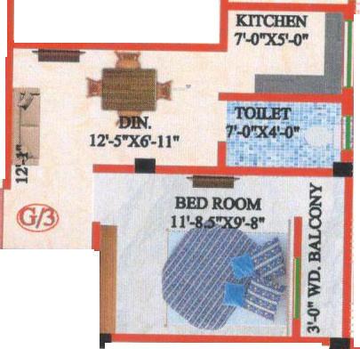 M A H Jai Ganesh Apartment 3 (1BHK+1T (441 sq ft) Apartment 441 sq ft)