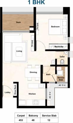 Aurum Q Residences (1BHK+1T (453 sq ft) Apartment 453 sq ft)