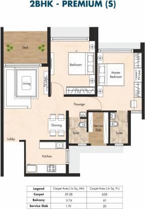 Aurum Q Residences (2BHK+2T (638 sq ft) Apartment 638 sq ft)