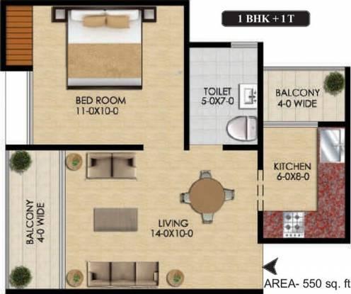 Mtnl MTNL Housing (1BHK+1T (550 sq ft) Apartment 550 sq ft)