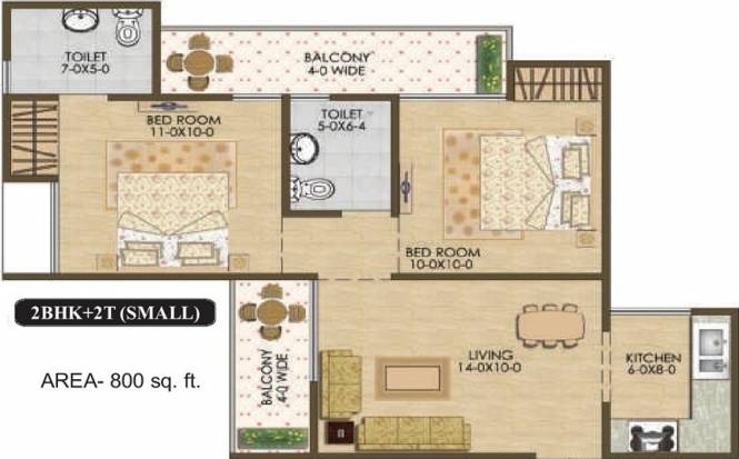 Mtnl MTNL Housing (2BHK+2T (800 sq ft) Apartment 800 sq ft)
