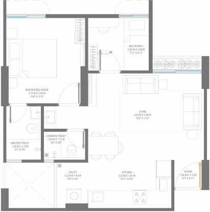 Godrej Vananta (2BHK+2T (527.22 sq ft) Apartment 527.22 sq ft)