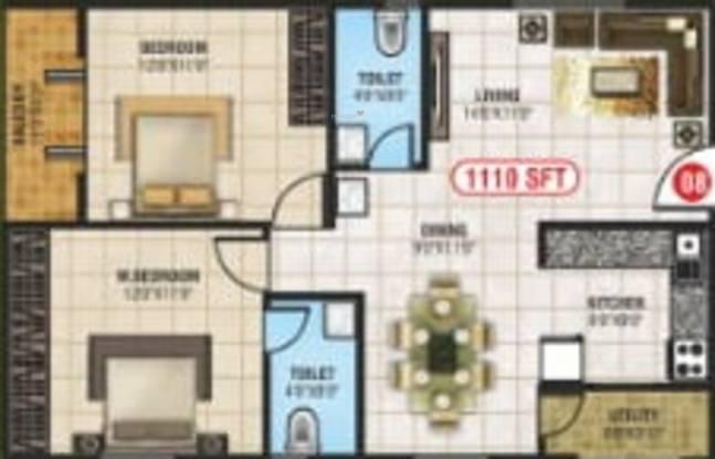 Brindavanam Brindavanam (2BHK+2T (1,110 sq ft) Apartment 1110 sq ft)
