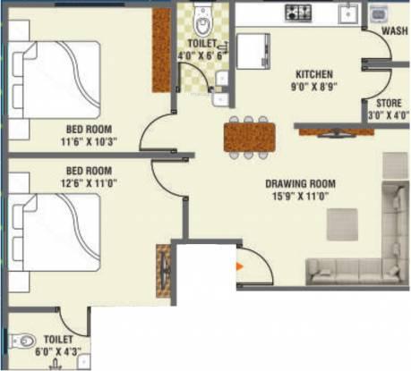 Pramukh Neel 55 (2BHK+2T (619.79 sq ft) Apartment 619.79 sq ft)