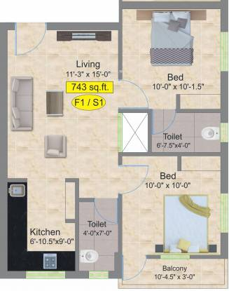 Aliyah Lily (2BHK+2T (743 sq ft) Apartment 743 sq ft)