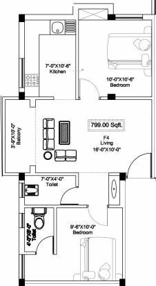 SI Swastika (2BHK+2T (799 sq ft) Apartment 799 sq ft)