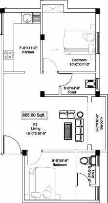 SI Swastika (2BHK+2T (805 sq ft) Apartment 805 sq ft)